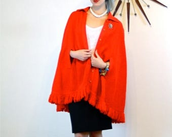 Spring SALE 25% Vintage 60s Red Knit Cape BRITISH VOGUE Crochet Poncho Fringe Buttons Butterfly Collar Arm Slits Mod Retro 1960s Long Fringe