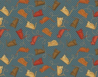 NEW Crafty Cats Craft 100% Cotton Quilt Fabric One Yard Cut of Tossed Cats on Blue