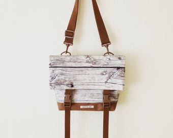 Canvas Crossbody Bag, Crossbody Bags for Travel, Foldover Crossbody bag, Messenger Bag, Shoulder Bag, Mens Bag, Fold Over, Wood, Cotton