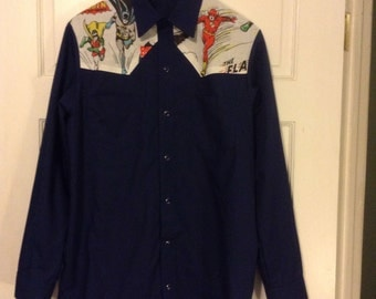 Custom order for Shannon Mens DC Comics Western Shirt Upcycled