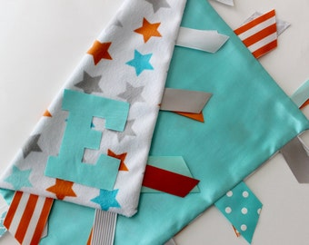 taggie, blanket, baby, gift, personalized, unisex, minky, ribbon, satin, aqua, orange, gray, lovey