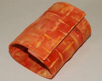 Wrist Wallet, Zippered Wrap Cuff, Hands-free, Secure, Orange Batiks