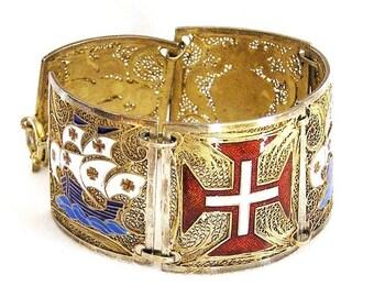 Cannetille Crusaders or Knights Templar Theme Enamel Bracelet