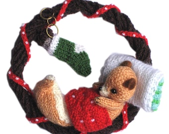 Christmas Squirrel sleeping in a Holly Berry Wreath PDF Email Knit PATTERN
