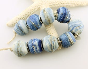 SRA Lampwork Glass Bead Set Rustic Organic Etched Matte Denim Blue Silver 'Chambray Shirt'