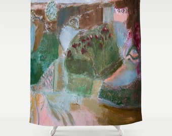 Shower Curtain Art, home decor, from painting, bathroom decor, polyester curtain, colourful, floral landscape, spanish art