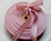 Vintage 1930's-40's French Woven Ribbon -Milliners Stock- 5/8 inch Chalk Pink