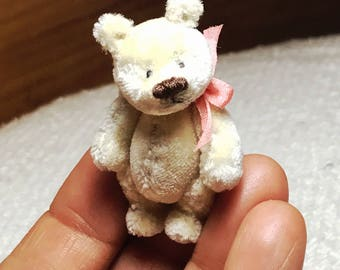 1-3/4in. Hand Sewn IVORY Silk Miniature Teddy Bear