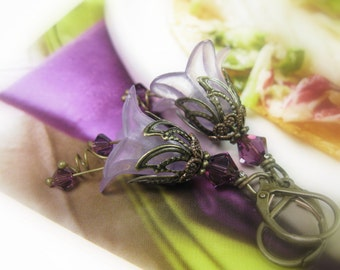 Flower Earrings, Vintage Style Jewellery, Amethyst Swarovski Crystal Earrings, Lucite Flower Earrings, Floral Gifts For Gardeners, Boho Chic