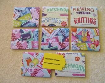 "8 - 3""x4"" Matchbook Notepads - Knitting & Crochet Pattern- 12 - 3 x 4 inch fold over sheets -"
