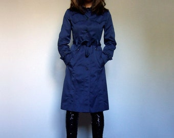 Trench Coat Women Vintage 70s Blue Jacket Fall Fitted Coat 1970s - Extra Small to Small XS S