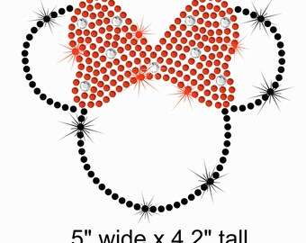 "5"" (black) Minnie Mouse iron on rhinestone Disney bling TRANSFER applique patch choose bow color"