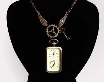 Timetravellers pocket watch necklace - Unique Steampunk Gothic Clockwork Neo Victorian Victoriana Jewellery