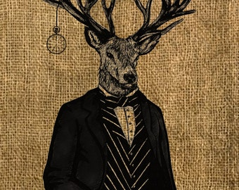 Steampunk Digital Image Download - The Time - No I Deer - Digital Download for Iron on Transfer, Papercrafts, T-Shirts, Tote Bags, Cushions