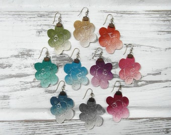Colorful Jewel Tone Rainbow Ombre Gradient Hand Painted Lace Flower Boho Statement Earrings / Vintage 1960s Lightweight Upcycled Lace