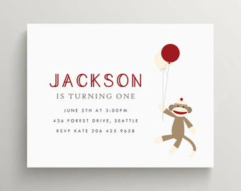 sock monkey birthday invitation set // baby shower invitation // monkey party // mod monkey // little monkey // note card // balloon // red