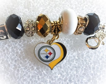 Gorgeous Pittsburgh Steelers INSPIRED  jewelry bracelets handmade jewelry bracelets