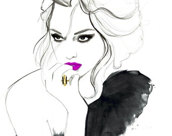 Fuchsia Lip, print from original watercolor and pen fashion illustration by Jessica Durrant