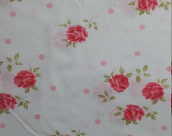Shabby cottage vintage flat sheet full size roses
