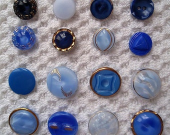 Vintage BLUE Glass Buttons Variety of 16 for Crafts Supplies Sewing  1950s Light Blue Sky Royal Navy