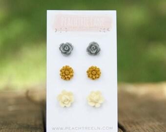 SALE Mustard Yellow Daisy Earrings << Grey Rose Flower Earrings >> Cream Ivory Flower Earrings >> Bridesmaid Earrings
