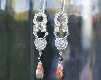 Antique Assemblage Chandelier Earrings with Festive Colours