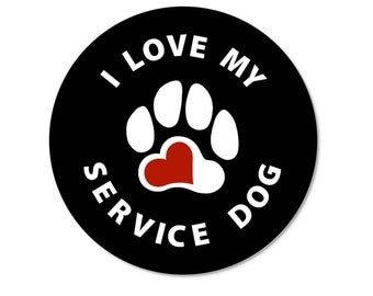 I Love My Service Dog Round Window or Bumper Sticker (4 or 6 packs)