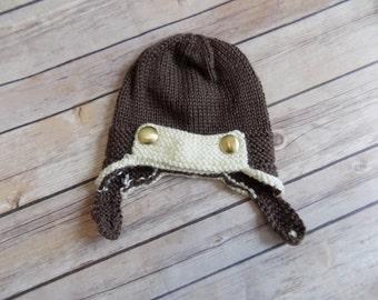 Newborn Baby Aviator Hat, Baby Earflap Beanie, Brown Knit Baby Cap