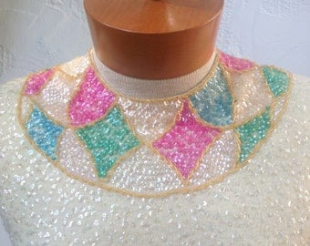 50's Vintage SEQUINED Beaded Sweater Top / Harlequin Stained Glass MOSAIC Sequin Accents / Buttercream 1950's Sweater Top