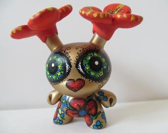 FLOWER HEAD Custom Dunny OOAK Kidrobot Urban Vinyl Art Doll by Kelly Green