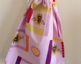 Large, Retro Purple Bee and Flower Drawtsring Bag, Library Book Bag, Beach Bag, Toy Bag, Laundry Bag, Handmade in Australia