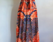 70s long BATIK wrap skirt India BoHo Chic size medium