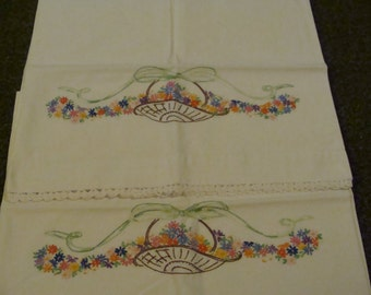 Pair of Farm Fresh Vintage Embroidered and Crochet Pillowcases .... Basket of Flowers
