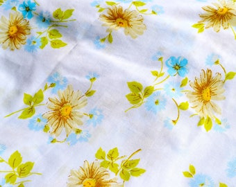 Vintage Bed Sheet - Blue Yellow Flowers and Daisies - Pequot Twin Flat