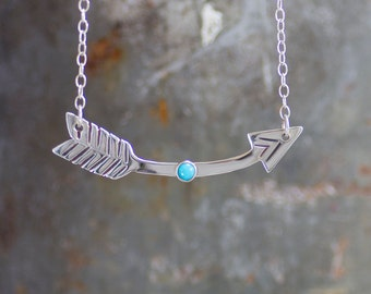 Detour Arrow Necklace, Sterling Silver Curved Arrow, Modern Prairie, Gemstone Necklace by Prairieoats