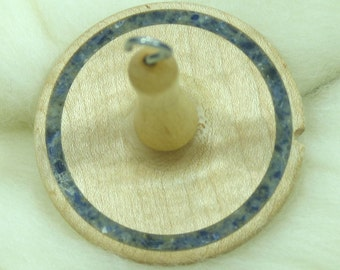 Llina Hand-Turned Maple / Sodalite Drop Spindle-Top Whorl 16 Grams
