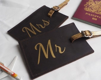 Honeymoon luggage tags, gold leather personalised luggage tags, his and hers luggage labels, mr and mrs luggage tags, personalized labels
