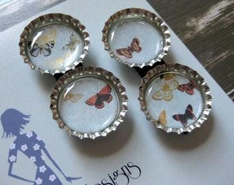 Butterfly Bottlecap Magnets - Set of 4