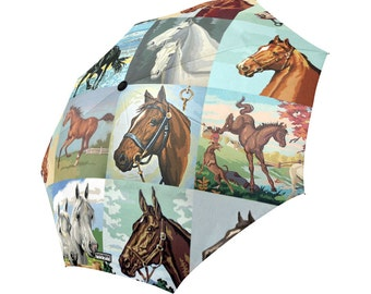 Paint By Number Horses Umbrella - PBN Horses foldable umbrella