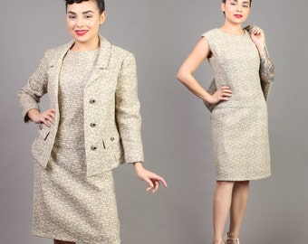 vintage OATMEAL wool MATCHING SET two piece jacket blazer wiggle midi dress 1960s 60s small S