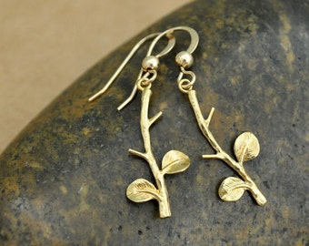 tiny gold filled leaf earrings, TINY LEAVES. petite vintage style raw brass leaf earrings with gold filled ear wires.