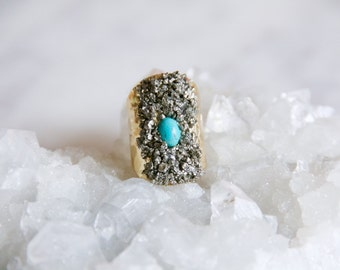 Pyrite Chip Cuff Ring -- Turquoise or Rhinestone