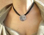 Silver pendant gift idea silver round pendant Jewelry Medallion gift black wax cord necklace