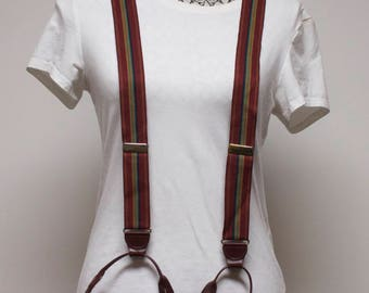 Vintage Mens Suspenders - Burgundy Button on Braces with  green, brown and blue Stripes