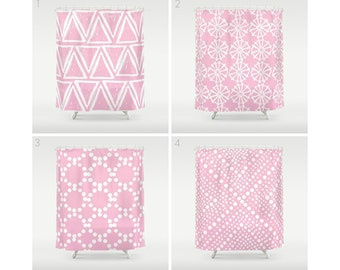pink shower curtain geometric shower curtain modern shower curtain white shower curtain