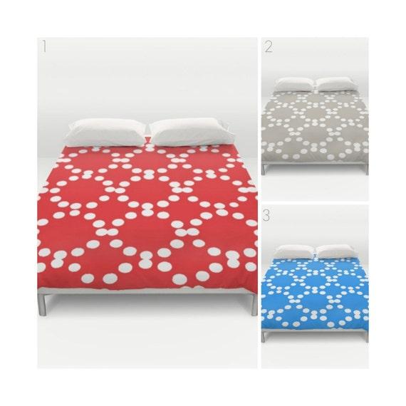 Modern Duvet Cover - Red duvet cover - Twin XL duvet - Twin bedding - queen duvet - king duvet cover - full duvet cover - Sky blue and white
