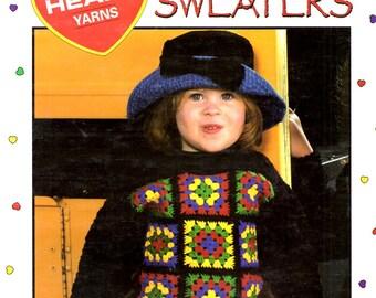 Granny's Girls Sweaters Small Medium Large Squares Bandannas Pom Poms Snowflakes Hearts Crochet Craft Pattern Leaflet Leisure Arts 2906