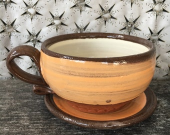 Ceramic Teacup and Saucer - Cappuccino Set in Tangerine and Summer White and Terra Red Stoneware