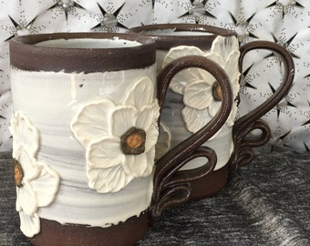 Ceramic Coffee Mug, Tea Cup in  Summer White and Chocolate Brown with Poppies