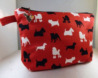 Red Black Pet Dog All Breeds Scottie Zipper Pull Makeup Cosmetic Travel Organizer Bag